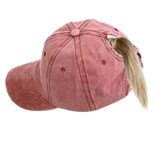 Fashion Women Ponytail Baseball Hat for Girl Winter Warm Breathable Hole Retro Ski Casual Sports Adjustable Visor Cap Hats