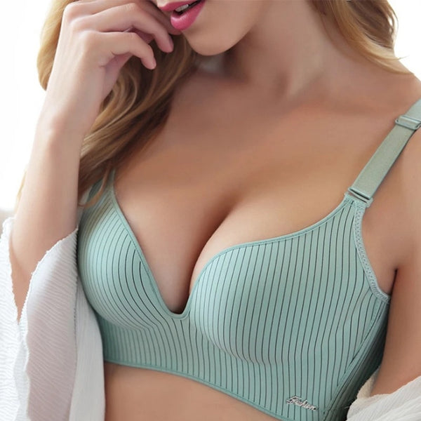 High-end Brand Romantic Temptation Bra Set Women Striped Underwear Set Hot Sale Push Up Seamless Lingerie Female Sets 90C
