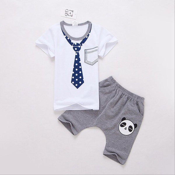 Hot Boys summer clothes sets children bowtie necktie T-shirt + pants 2pc/suit kids handsome suits short sleeve