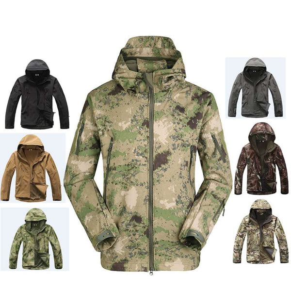 Hunting Clothes Outdoor Shark Skin Softshell  Tactical Millitary Camouflage Jacket Suit Men's Waterproof Jacket Or Pants