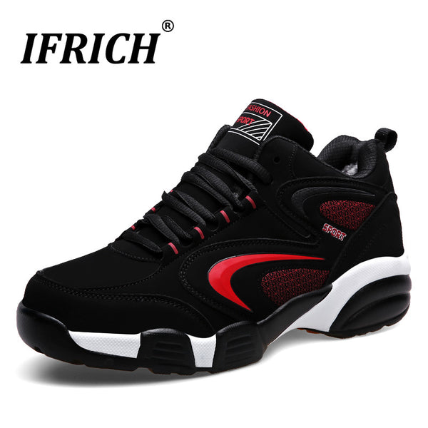 Men Women Winter Thermal Sport Shoes Brands Warm Running Sneakers Black Fur Sport Trainers Leather Athletic Sneakers Men