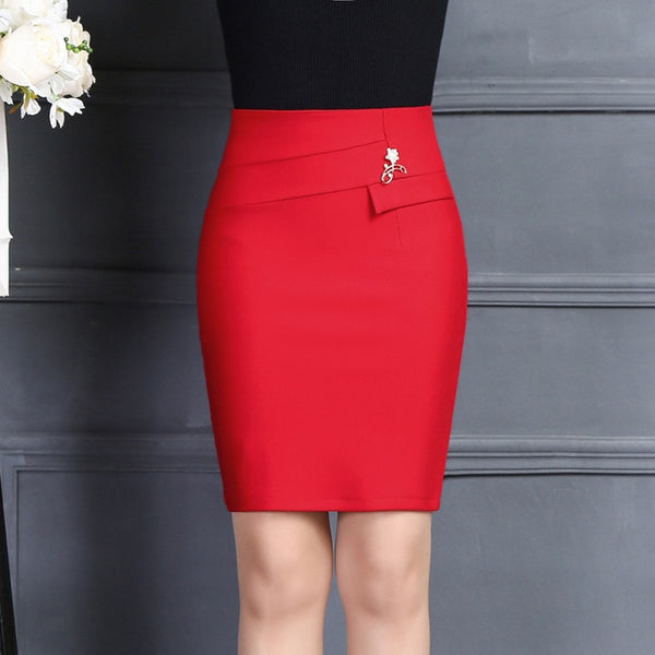 New Arrivals Women Office Skirt Fashion Casual Office Solid Color Brooch High Waist Package Hip Skirt Red Black Mini Skirt