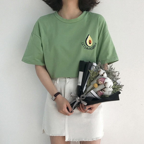 New Cute Avocado Embroidery Short Sleeve T Shirt Women Summer Small Fresh Tshirt Harajuku T-shirt Femme Top