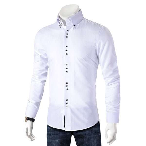 New Fashion Casual Shirt Men Long Sleeve Slim Fit Men's Casual Button-Down Shirt Formal Dress Shirts Men Clothes Camisa