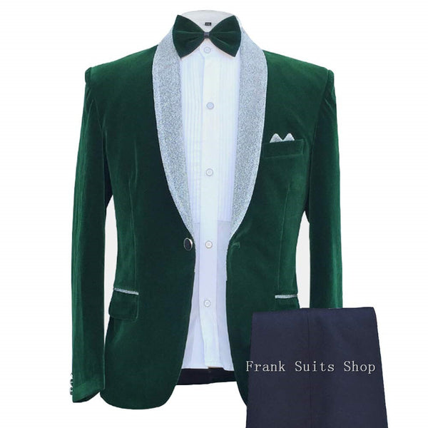 New Fashion Groom's Wear Dark Green Velvet 2 Pieces Tuxedos Wedding Party Suits For Men (Jacket+Pants)