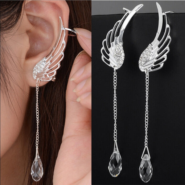 New Silver Plated Angel Wing Stylist Crystal Earrings Drop Dangle Ear Stud For Women Long Cuff Earring Bohemia Jewelrys