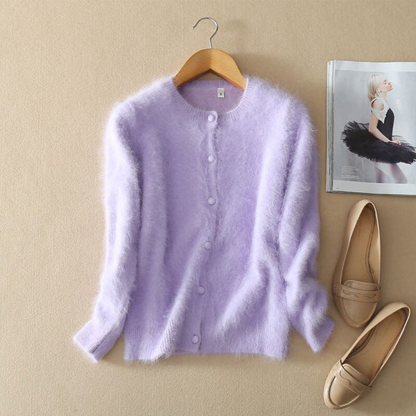 New Styles Cardigan Female Long 100% Genuine Mink Cashmere Fluffy Sweater Solid Color Autumn Winter Women Cardigans Coat