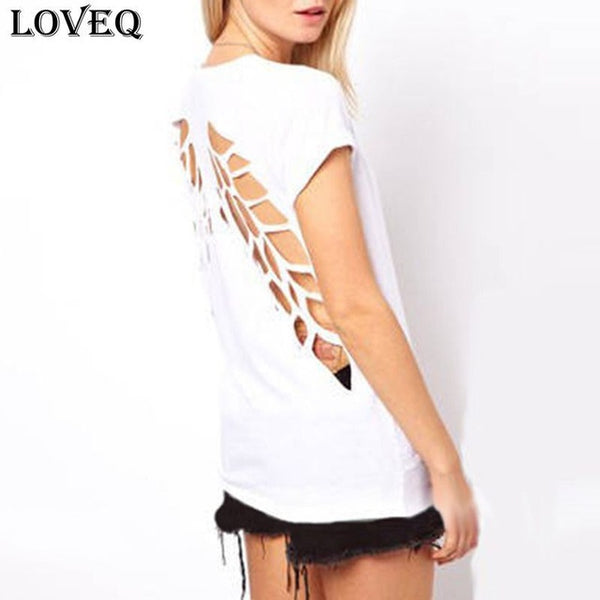 New Summer Fashion Casual T Shirt Women Laser Angel Wings Backless T Shirt Ladies Clothes O-Neck T-Shirt Tops Plus Size