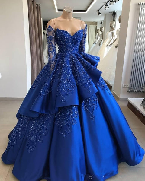 Royal Blue Vintage Ball Gown Quinceanera Dresses Off Shoulder Long Sleeves Beads Sequined Vestidos De 15 Anos Sweet