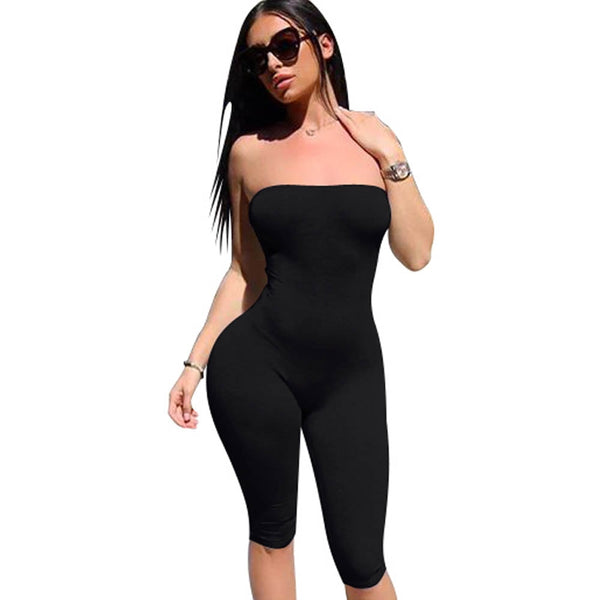 Solid Sexy Strapless Backless Bodycon Bandage Spandex Summer Jumpsuit Women Sexy Rompers One Piece Bodysuits For Women
