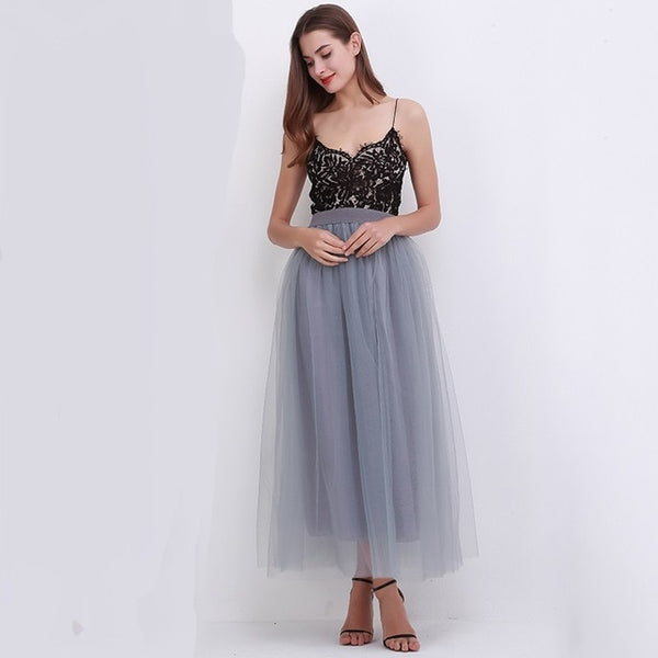 Spring Fashion Womens Lace Princess Fairy Style 4 layers Voile Tulle Skirt Bouffant Puffy Fashion Skirt Long Tutu Skirts