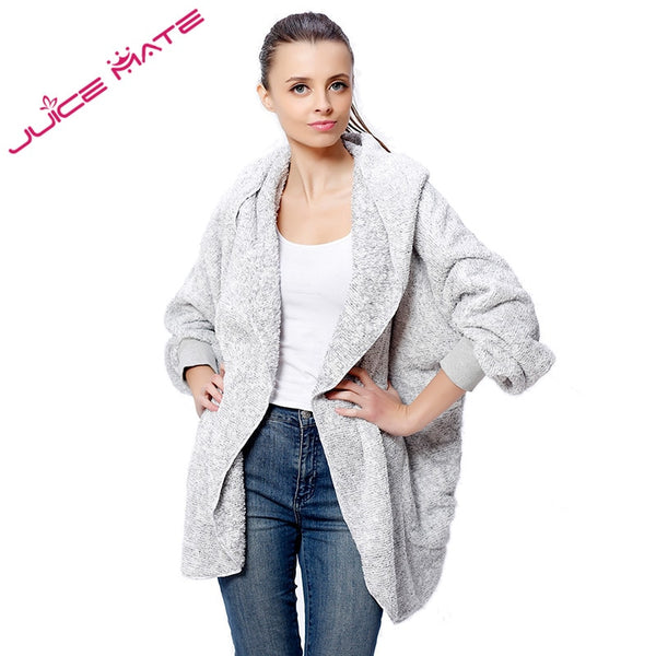 Spring Plush Teddy Fleece Cardigan Women Two-Tone Poncho Capes Batwing Open Front Poncho Shrug Hood Cardigan For Women