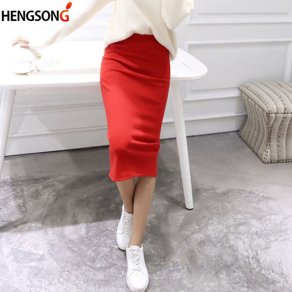 Spring Summer Bodycon Skirts Women Stretchable Split Skirt Midi Slim Pencil Skirts For Women Female Knit Skirt