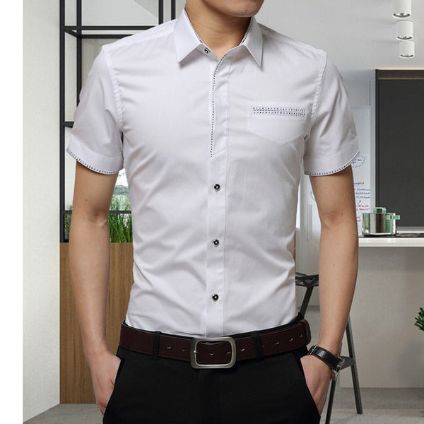 Summer New Men's Shirt Brand Luxury Men Cotton Short Sleeves Dress Shirt Turn-down Collar Cardigan Shirt Men Clothes