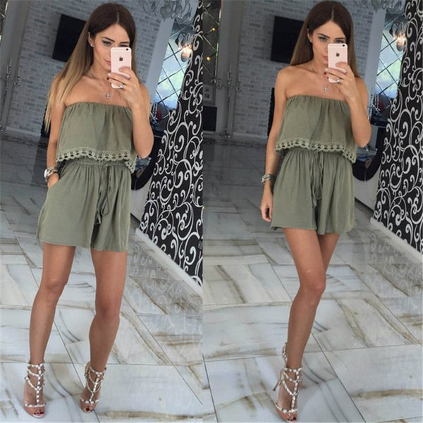 Summer women Jumpsuits leisure sexy strapless chest wrapped piece shorts Fashion rompers Women jumpsuit Solid Playsuits