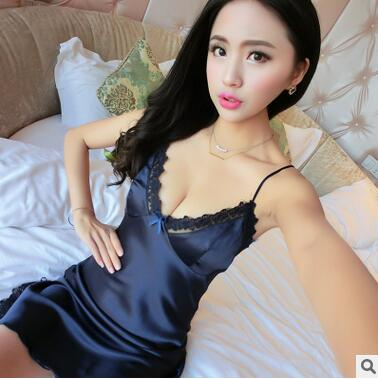 Summer women silk sleepwear HOT female sexy lace slips 4 colors M-L-XL