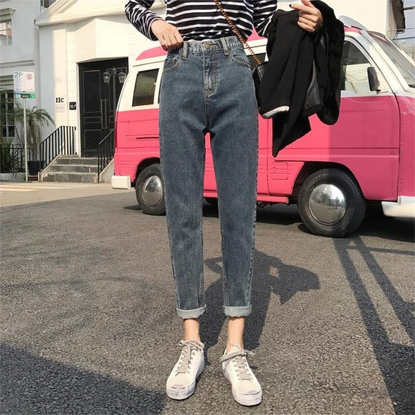 Wash Bleaching Mom Pants Boyfriend Jeans For Women Denim Skinny Jeans Woman High Wais Loose Vintage Large Size Female Jeans