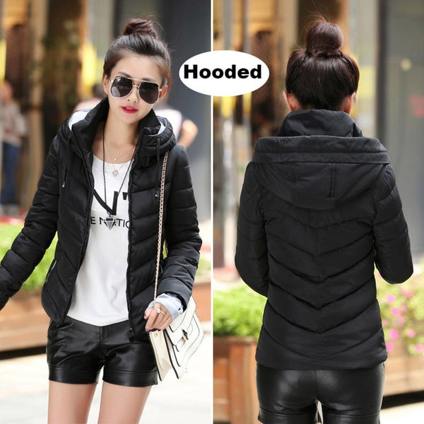 Winter Jacket women Plus Size Womens Parkas Thicken Outerwear solid hooded Coats Short Female Slim Cotton padded basic tops