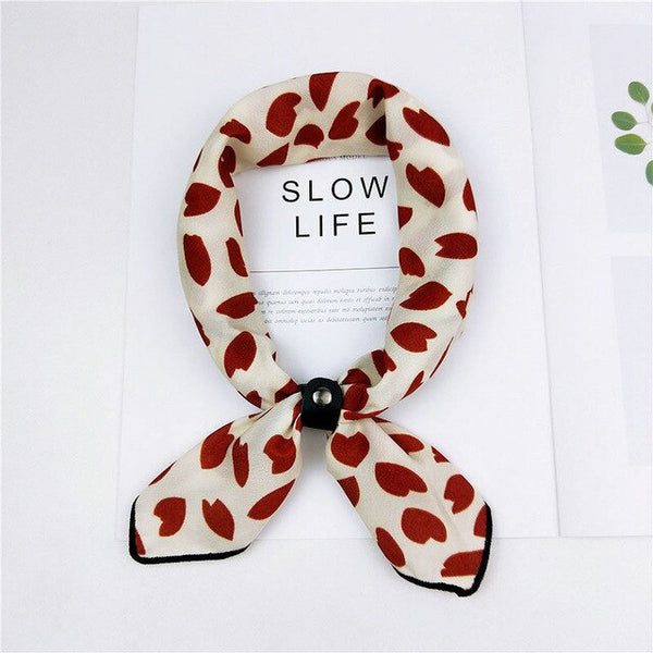 Women Elegant Vintage Small Scarf Bandana Neck Hair Headband Tie Band Animal Printed Soft Handkerchief Scarves Gift 50*50cm