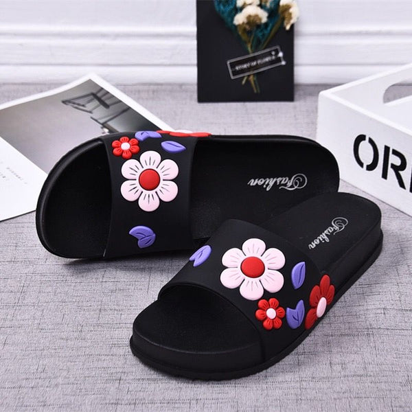 Women Slippers Fashion Summer lovely Ladies Casual Slip On  Beach Flip Flops Slides Woman Indoor Shoes Flower TUX3