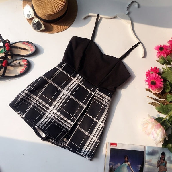Women Summer Playsuit Casual Striped Plaid Print Strappy Rompers Sexy Halter Short Jumpsuit overalls  feminino