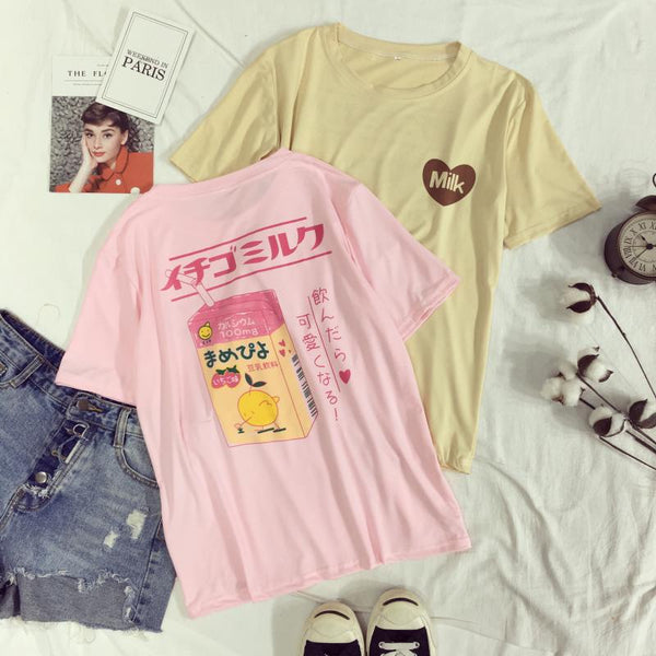 Women's T-Shirt Summer O-Neck Harajuku Tee Soft Love Heart Milk Box Printed Short-sleeve Top Bottoming Fashion Tee Shirt