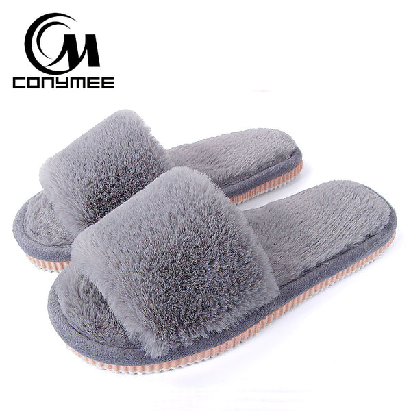 Womens Fur Slippers Winter Shoes Big Size Home Slippers Plush Pantufa Women Indoor Warm Fluffy Terlik Cotton Shoes ZJ-MM
