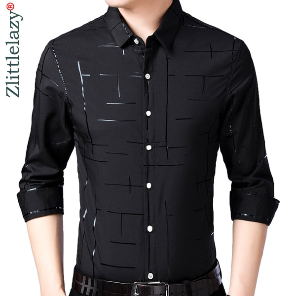 brand casual plaid luxury plus size long sleeve slim fit men shirt spring social dress shirts mens fashions jersey 41607