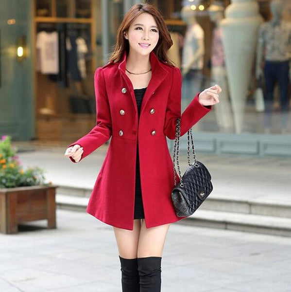 fashion girl in winter to keep warm the double-breasted woolen cloth coat/Women Trench Coat  Long double-breasted jackets
