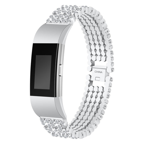 for wearable devices Bling Stainless Steel Metal Bracelet Strap Band Replacement for Fitbit charge 2 support smartwatch