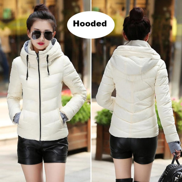 hooded women winter jacket short cotton padded womens coat autumn casaco feminino inverno solid color parka stand collar