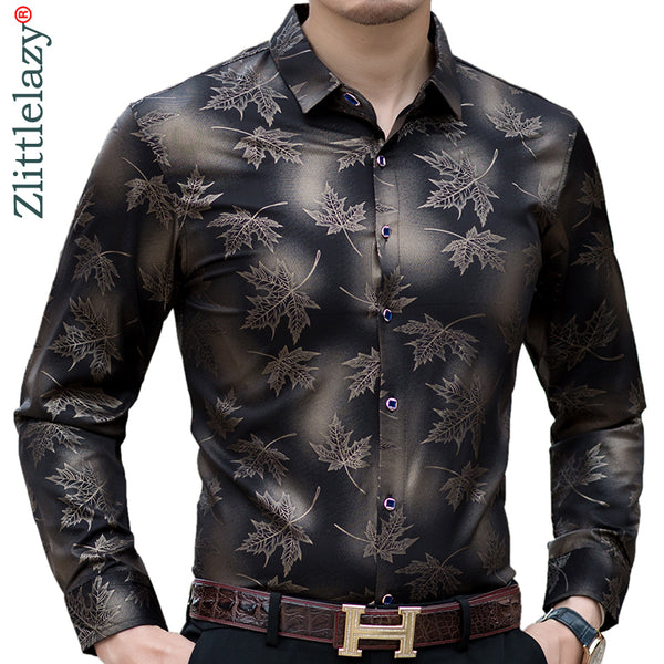 new social long sleeve maple leaf designer shirts men slim fit vintage fashions men's shirt man dress jersey clothing 36565