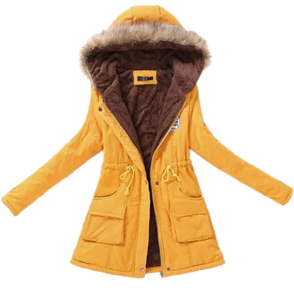 winter ladies casual hooded plus velvet thick warm fur collar cotton-padded jacke coat / Women's parkas wool wadded jacket