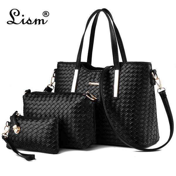 Brand Women's Luxury Composite Shoulder Bags Ladies Handbags Clutches Bags Set 3 High Quality Sac A Main Femme De Marque