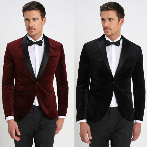 Custom Made Groom's Wear Peak Lapel Velvet Tuxedos Slim Fit Wedding Suits For Men 2 Pieces (Jacket+Pant+Tie)