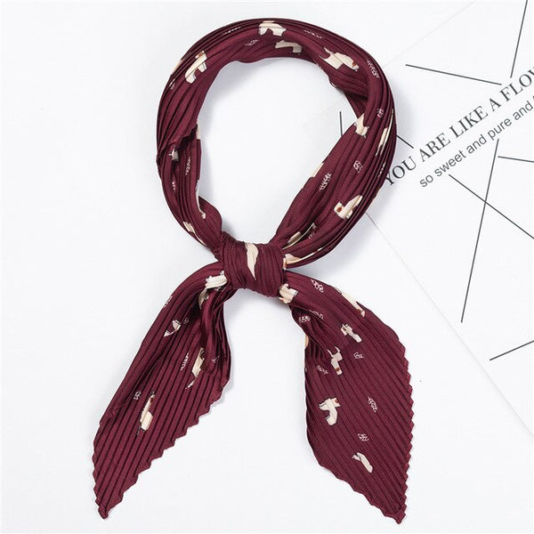 Designer Women Crinkle Scarf Silk Square Scarfs for Ladies Neck Scarves Pleated Print Handkerchief Female Hair Band Tie