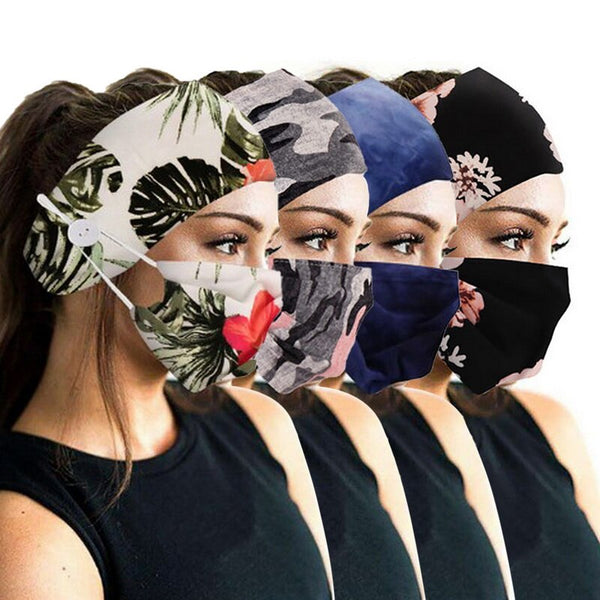 Fashion Chrismas Dyed Button Anti-Leash Facial Cover & Printed Head Accessories Soft Yoga SportsElastic 2Pcs Set