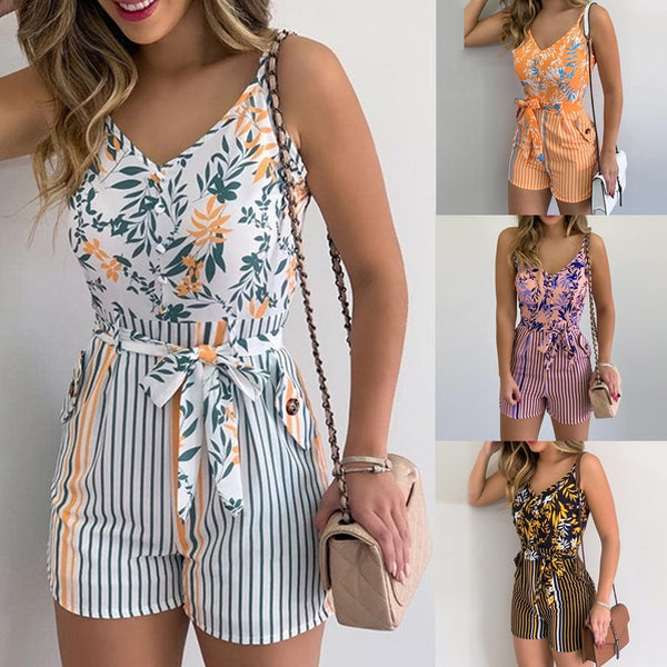 NEW Women's Summer Print Jumpsuit Casual Slim Short Sleeve V-Neck Beach Rompers Sleeveless Bodycon Sexy Playsuit