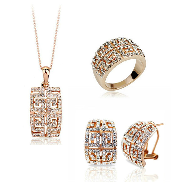 New Design Hot Sale gold-color Austria Crystal Jewelry Set For Women