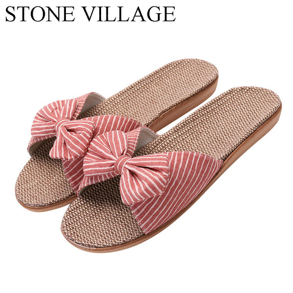 New Eva Stripes Bow home slippers Cotton Indoor Shoes Japanese Style Linen Slippers  Slippers Women Flip Flops Shoes Women