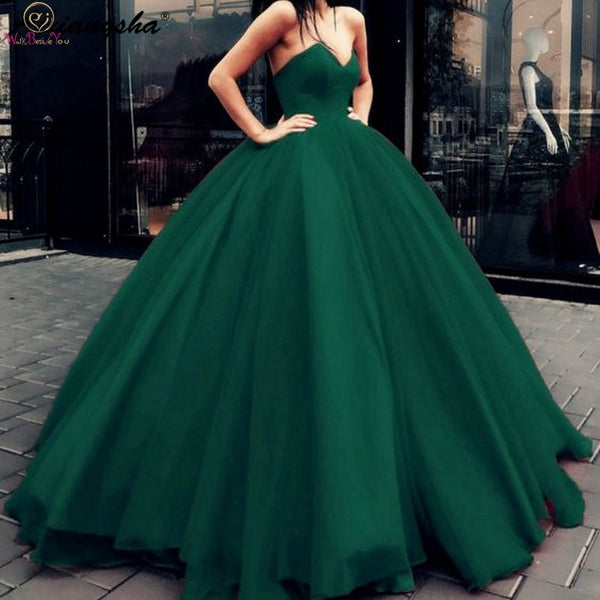 New Hunter Green Quinceanera Dresses Strapless Ball Gown Formal Party Ceremony Graduation Long Prom Gown robe de soiree