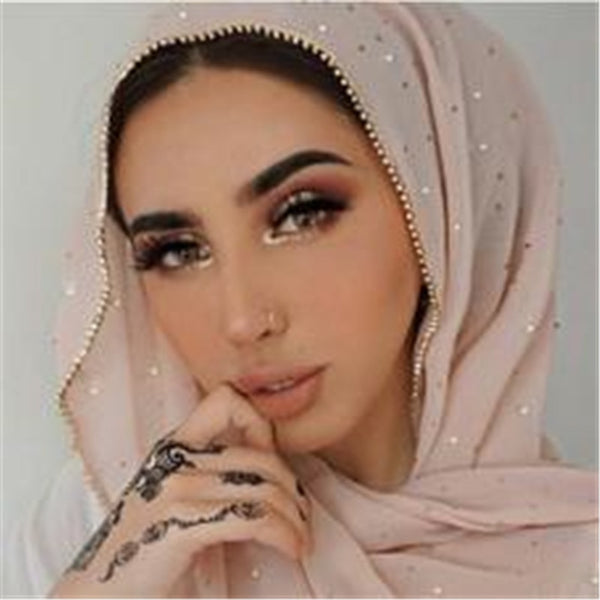 New Product Diamond chiffon Women Long Hijab Scarf Muslim Lady Hijab Caps Islam Clothing Turkish Turban Shawl Headscarves