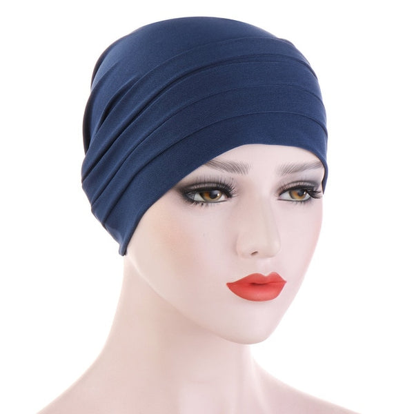New Spring Candy Color Turban Cap Chemotherapy Headband Forehead Pile Hat Muslim Headscarf Women Hair Accessories