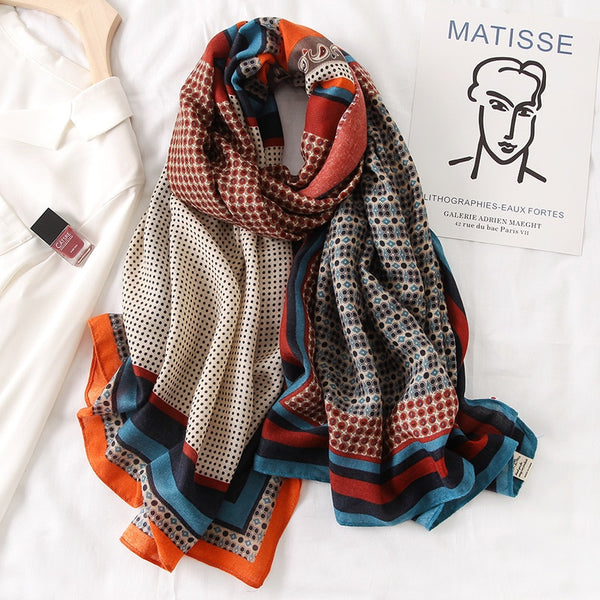 New design brand women scarf fashion print cotton spring winter warm scarves hijabs lady pashmina foulard bandana plaid