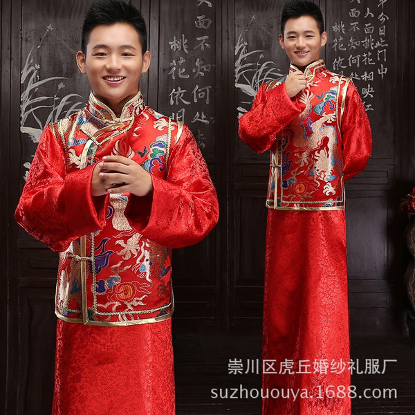 Real Terno Noivo Colete Gravata 2020 New Groom's Men's Xiuhe Suit Chinese Wedding Dress Zhongshan Improved Tang Ancient