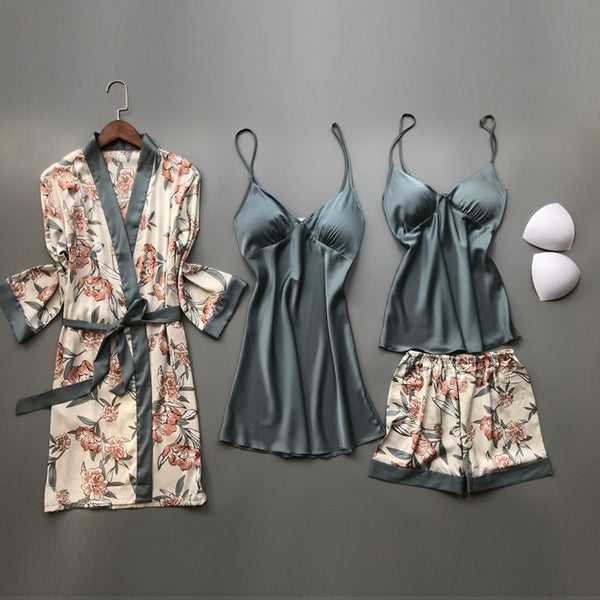 Spring Autumn Women Silk Pajamas Sets With Chest Pads Flower Print Pijama Sleepwear 4 Pieces Spaghetti Strap Satin Pyjamas