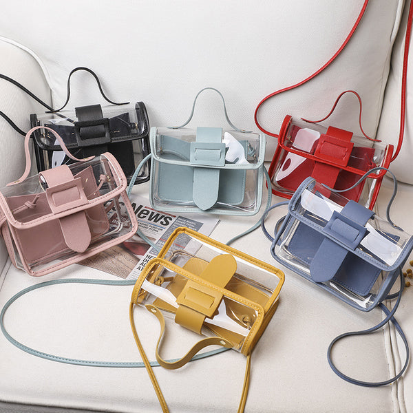 Spring Summer Fashion Women's Transparent Square Sling Bag Cool PVC Shoulder Bag Messenger Bag Mobile Sweet Lady Bag