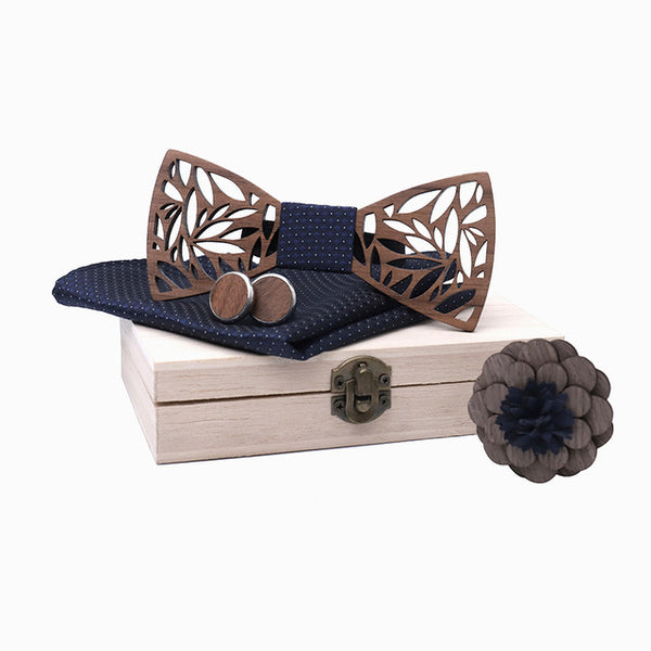 new Wooden Bow Tie Handkerchief Set Men's Bowtie Wood Hollow carved cut out Floral design with wooden box For Wedding Party
