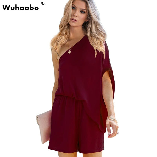 Summer Women Solid Color Party Playsuit Female Oblique Shoulder Fashion Loose Short Jumpsuits High Waist Casual Romper