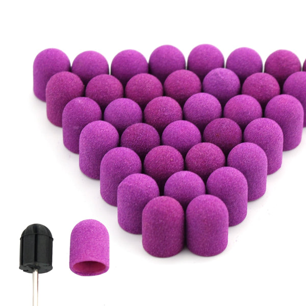 20pcs 10*15/13*19 Purple Nail Sanding Caps With Rubber Gel Remover Cutter Drill Bits Pedicure Cuticle Tools Drill  Accessories
